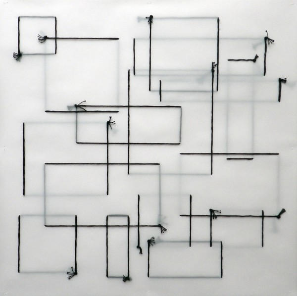 3. Complete- Incomplete Quadrilaterals 1, 2014,6 strand cotton thread, 6 layers of tracing paper  44.5 x 44.5 cm