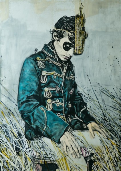 a French poet less mixed media on wood 220 x 150 cm